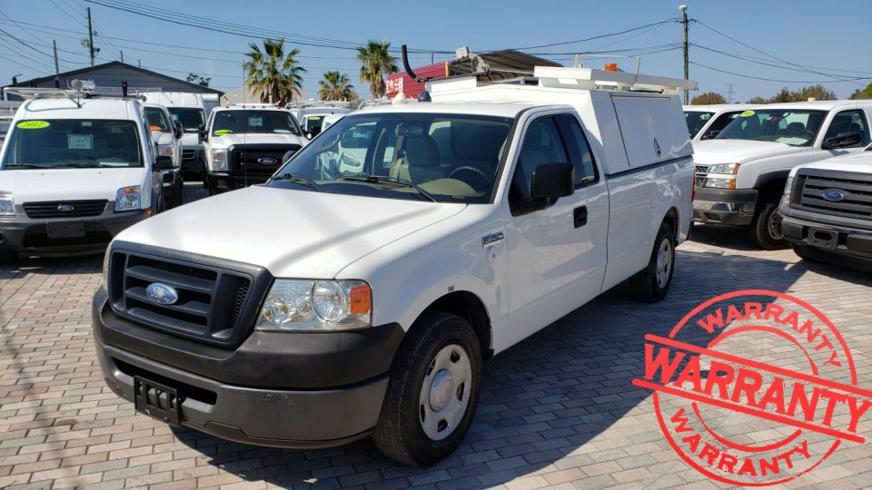 2008 FORD F150 XL, REGULAR CAB, 8 FT BED WITH TOPPER, 85 K MILES